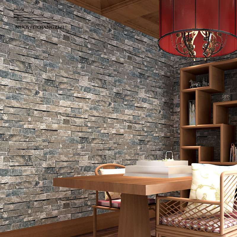 Home decor pvc vinyl faux brick stone 3d wallpaper rolls for Decoration adhesif mural