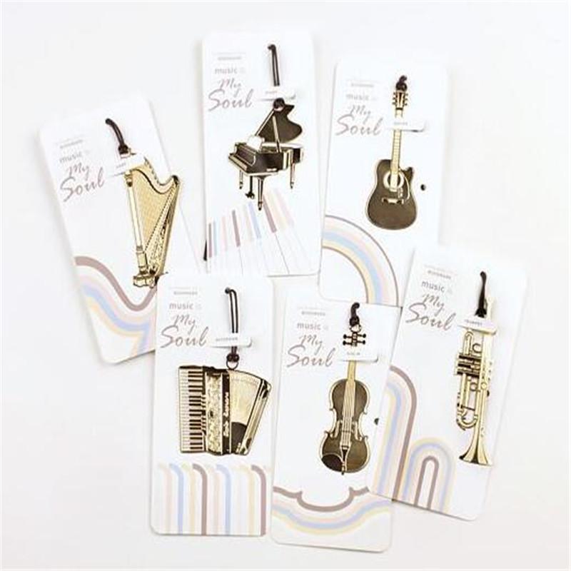 6PCS Cute Kawaii Golden Metal Music Bookmarks Piano Guitar Trumpet Designs Book marks Korean Stationery Gifts Free shipping(China (Mainland))