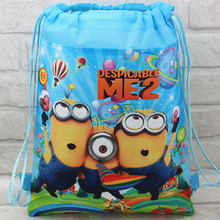 Free Shipping  Quality Cute Despicable Me Minion Plush Backpack Child PRE School Kid Boy and Girl Cartoon Bag birthday gift bag(China (Mainland))