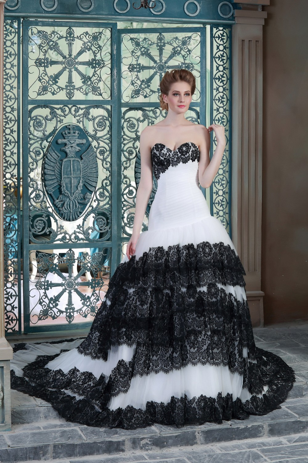 Black And White Mermaid Wedding Gowns : Gothic black and white mermaid wedding dresses s non