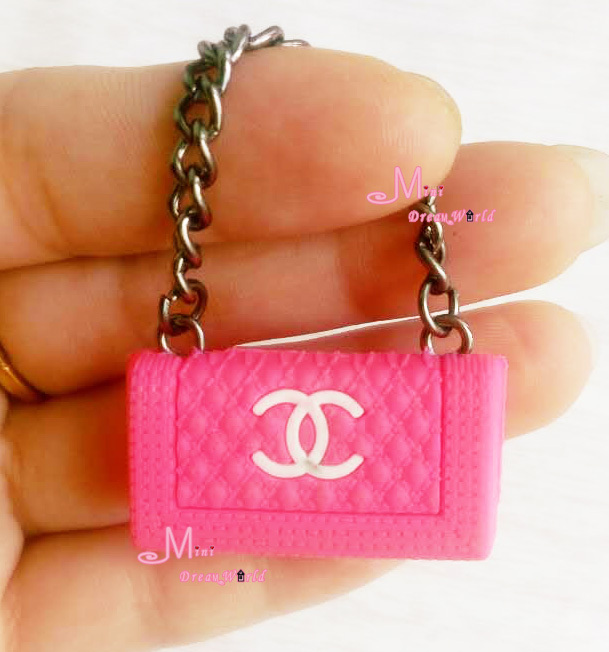 1/6 Scale Dollhouse Miniature Metal Chain Plastic Rose pink Color TOY Lady Handbag Bag(China (Mainland))