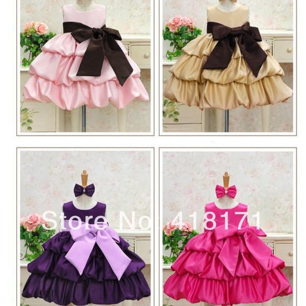 Big Ribbon Bowknot Girls Formal Dress Multi-layers Princess Bouffant Ocasion Dress Dance Wear Childrens Day Show Costume<br><br>Aliexpress