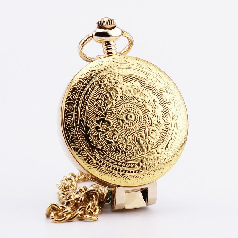 Orkina ретро карманные часы золотой циферблат стеклянной крышкой резные чехол суб - набрать кварц нежный шкентель портативный удобный платье 31