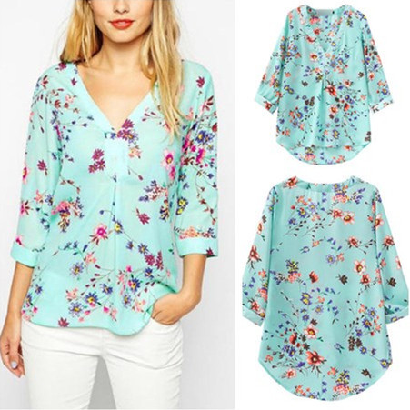 Flower Floral Printed V Neck Blouse Crochet Blouse Sexy Tops Blusas