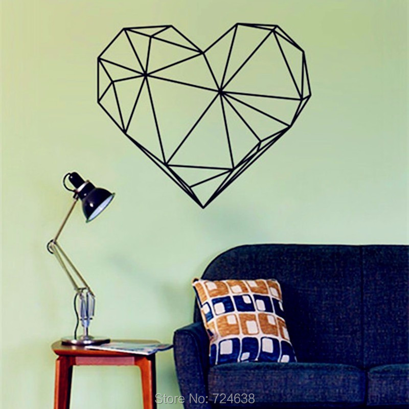 Geometric Heart-shaped Vinyl Wall Decal Modern Style Creative Design Home Decor For Wall Decoration 3D Sticker Size 56 x 65 cm(China (Mainland))