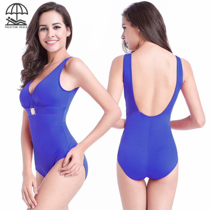 Big Sale Women Solid Hot Backless V-neck One-piece Suits with Chest Shining Decoration Padded Volleyball Surf Pool Float Costume(China (Mainland))