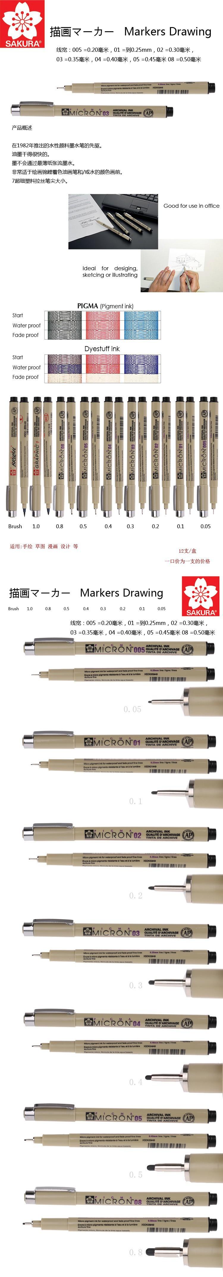 9PCS Black  fineliner Sakura Pigma Micron Drawing Pen  005 01 02 03 04 05 08 Brush Waterproof Line drawing pen Free Shipping