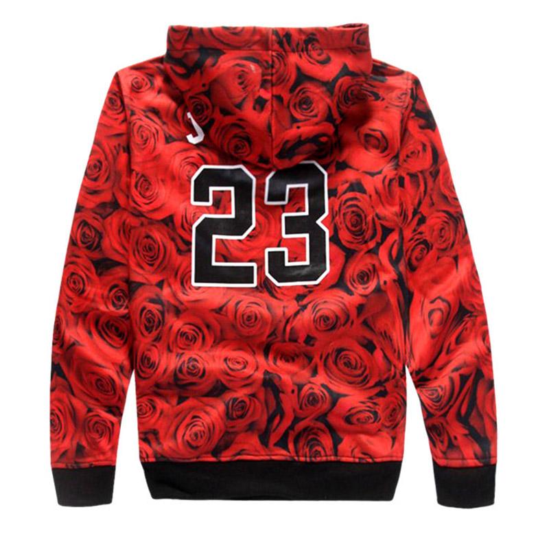 New Arrival Chicago Jordan 23 Lletter Print 3d Sweatshirts Rose Floral Sportswear Fashion Hoodies Women/men Clothing Plus size(China (Mainland))
