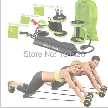 Revoflex Xtreme Fitness Xtreme Resistance Exerciser with band as seen on TV double wheeled fitness slimming gym sport equipment(China (Mainland))