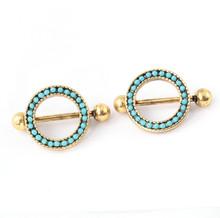 1PC 316L Surgical Steel Nipple Jewelry Antique Gold Plated Nipple Shield Nipple Ring Bar Jewelry Nipple