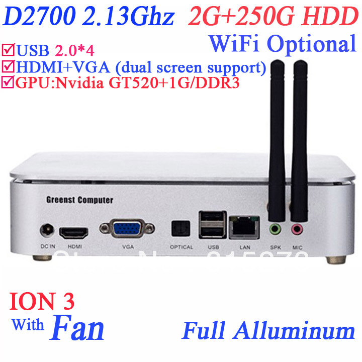 htpc mini pc with fan Intel Pinetrail D2700 2.13Ghz dual core ION 3 Nvidia GT520 2G RAM 250G HDD full alluminum chassis HDMI(China (Mainland))