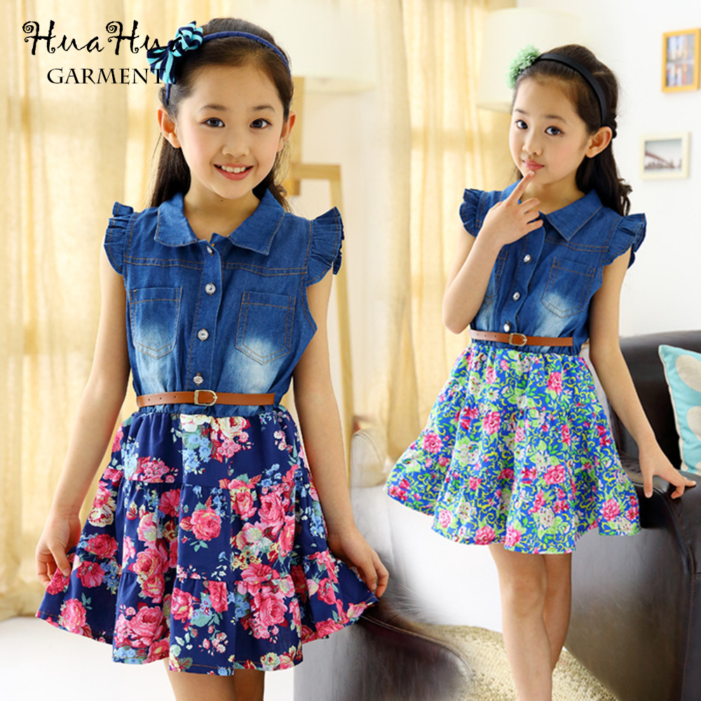 summer Girl Kids Dress 2-13Y Lovely Denim Blue Beautiful Lace Cowboy Clothes Casual Dress(China (Mainland))