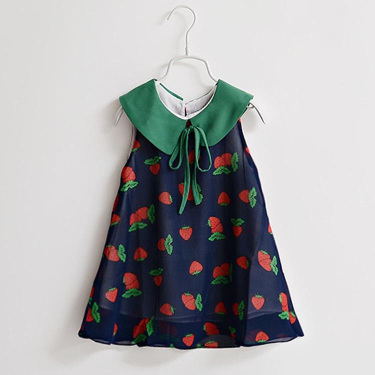 Sleeveless Girls Dresses New Designer 2015 summer print strawberry childrens clothing baby girl princess dress for chiffon HA060(China (Mainland))