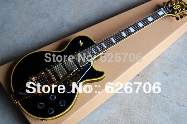HOT wholesale G Shop 1957 Custom 3 Pickup with Bigsby VOS black beauty Electric Guitar free shipping(China (Mainland))