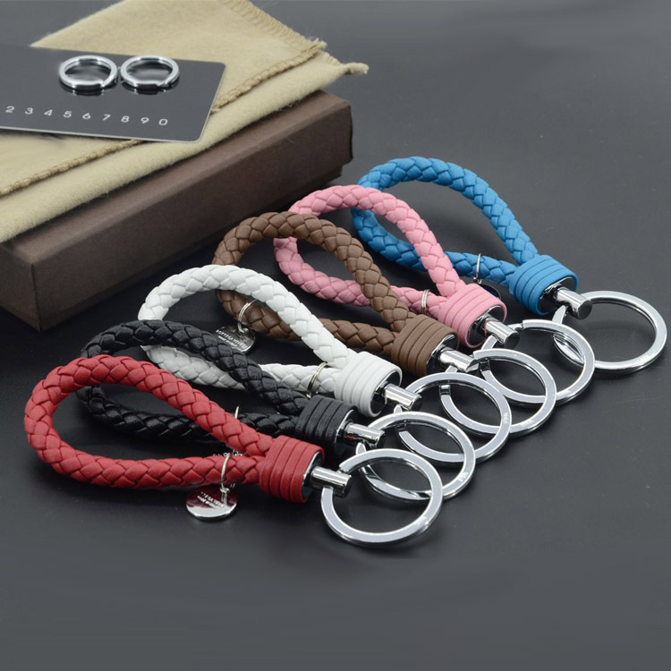 Sheepskin Stainless steel zinc alloy knitting Keychain Lover's gift fashion Brand genuine leather key chain ring holder finder(China (Mainland))