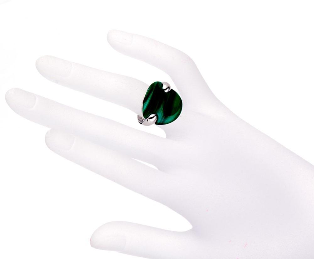 100% натуральный мода cut зеленый малахит твердого тела 925 серебряное кольцо изящных ювелирных изделий единственный в своем роде