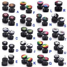 2Pcs Flat Round Plug Ear Stud Fake Cheater Barbell Men Women Ring Piercing Earrings(China (Mainland))