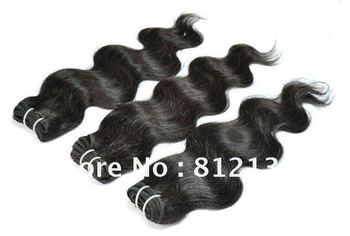 "100% guaranteed  3pcs/lot body wave virgin Indian remy human hair extensions 8""-30"" machine weft dhl free shipping"