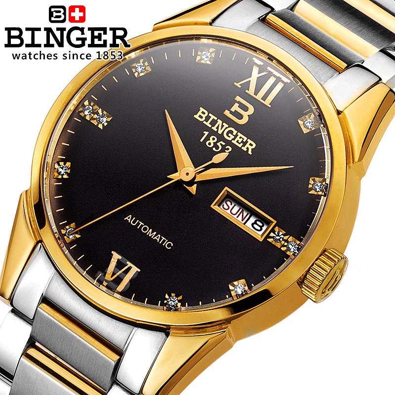 Genuine Swiss BINGER Brand Mens watches automatic mechanical self-wind gold strip double calendars diamond waterproof(China (Mainland))