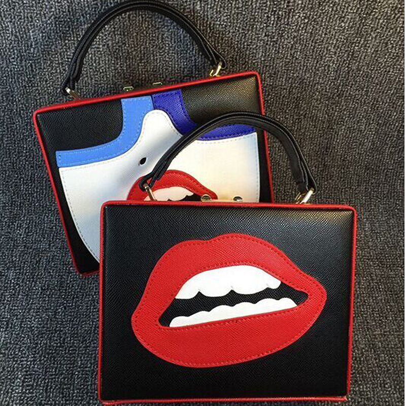 Good quality fashion design sexy red lips woman fun personality pattern pu leather box bag ladies handbag mini messenger bag(China (Mainland))