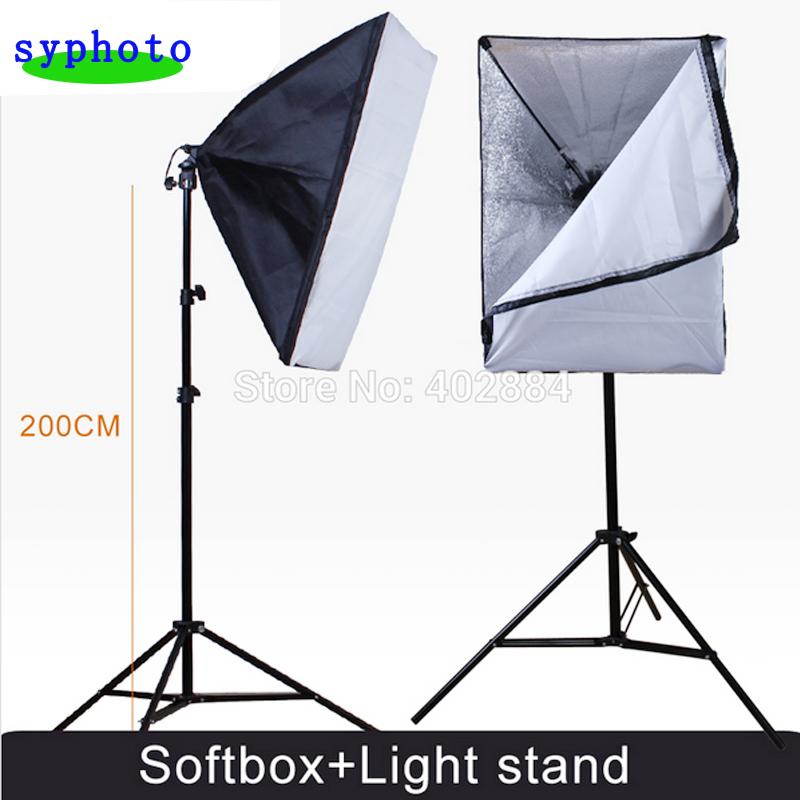 Photography Rectangle Continuous SoftBox Lighting Kit 50x70cm Softbox +Light Holder Stand Photo Studio Equipment Set - Shangyu Originality Photographic Equipments Co., Ltd store