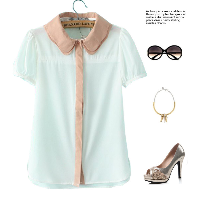 Summer Women Loose Chiffon Shirt Lady Double Collar T-Shirts Tops - Online Store 923589 store