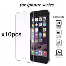 10pcs 0.26mm Screen Protector for iPhone 4 4s 5 5s SE 6 6s plus Tempered Glass Screen Protector for iPhone 6 6s Protective Film