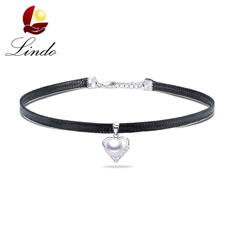 Women Vintage Silver 925 Choker Sexy Black Faux Leather Necklace High Luster Real Natural Pearl Heart Jewelry Lowest Price30+5cm(China (Mainland))