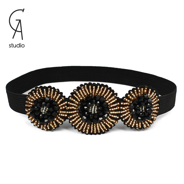 Hot Sale hair band New Fashion resin beaded three little flowers Headbands For Women Hair Accessories trendy Jewelry Gift Party(China (Mainland))