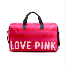 Women Luggage Travel Bags Striped Love Pink Women Large Capacity Waterproof Travelling Duffle Tote Letters Weekend Sport Bag(China (Mainland))