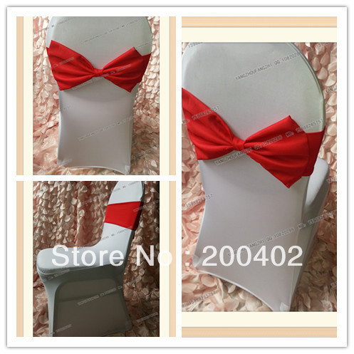 free shipping red spandex band with polyester bow for chair covers/spandex band
