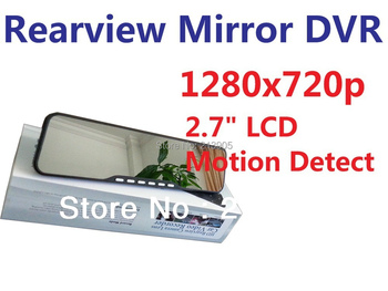Car Vehicle Rearview Mirror Camera Recorder DVR 2.7' TFT LCD 1280x720p with AV-OUT USD interface Rearview mirror DVR
