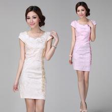 2016 summer women's sequined collar embroidered flower petals dress improved Chinese cheongsam dress female short sleeve dress