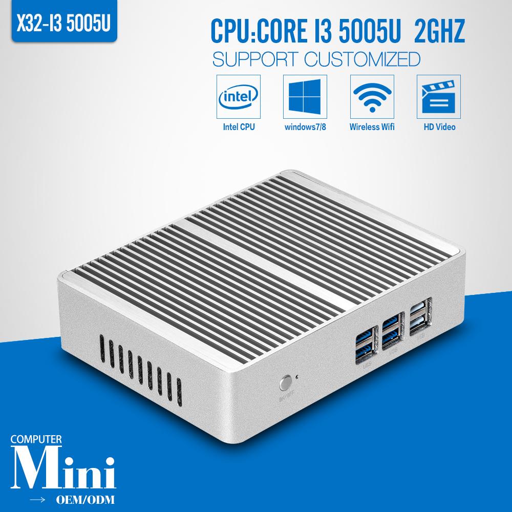 OEM/ODM Fan Mini pc Dual core I3 5005U X86 dual core 6*USB HDMI+VGA DDR3 4G RAM 500G HDD+WIFI Mini pc windows