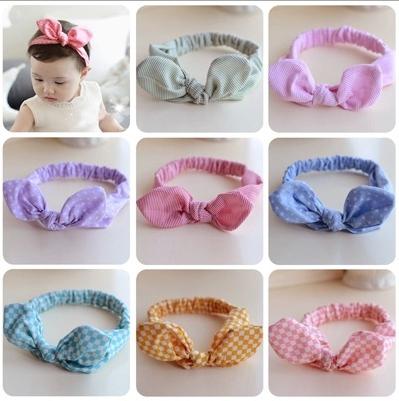 Cheap Wholesale New Lovely Baby Hair band Hair Accessories Striped Cotton Plaid Kid Rabbit Ears Headbands Child Girl Headband(China (Mainland))