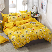 3/4pcs/Set Simple Style Yellow Dandelion Plant Comforter Bedding Set Bed Linen Linings Duvet Cover Set Pillowcases Home Texile(China)