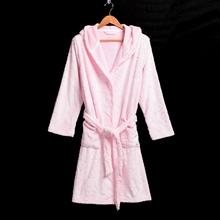 Women Pink Flannel Bathrobe Winter Thickening Warm Sleepwear Robes High Quality Free Size(China (Mainland))