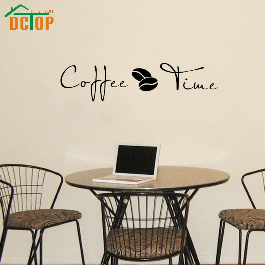 Coffee Time Wall Stickers Creative Home Decorative Sticker For Cafe Bar Wall Decor Sticker Vinyl Decals(China (Mainland))