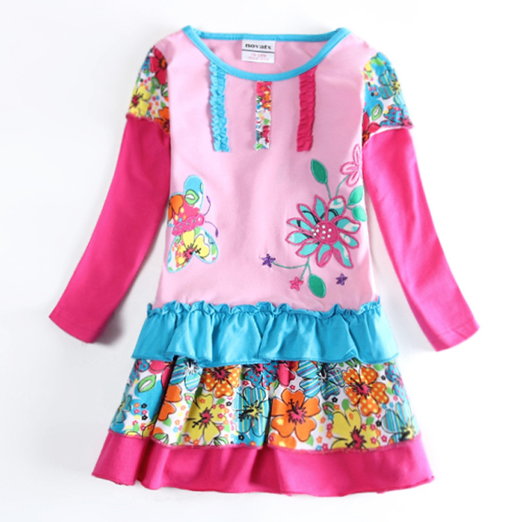 Girl dress flowers nova kids wear baby long sleeve children clothes frocks autumn/spring child wear tutu dress girl high quality<br><br>Aliexpress