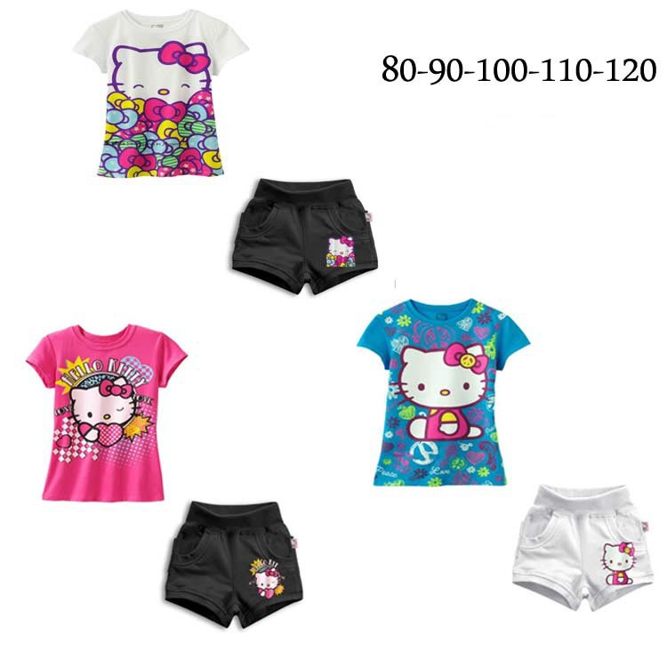 281# wholesale free shipping new summer style 3 color casual baby Hello kitty clothes set 5sets/lot(China (Mainland))