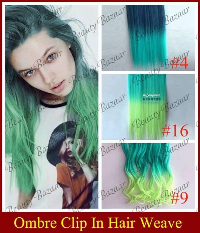Benelady 10 Women's Fashion Ombre hair wavy two tone Clip synthetic Hair - Studio store