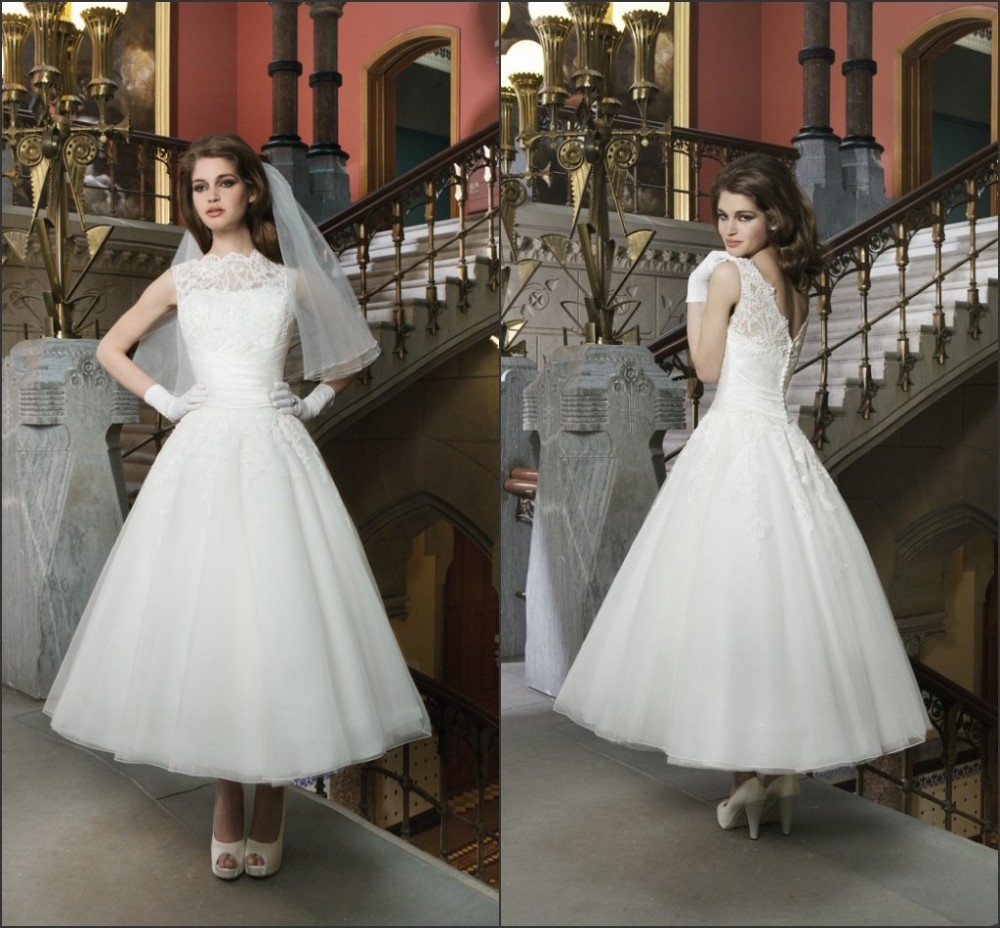 luxury high neck mid length wedding dresses women 2015