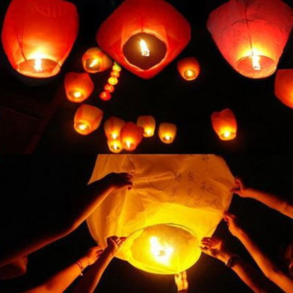 5pcs/lot Chinese Paper Lamp Lantern Aesta Red Heart Shape Sky Fire Chinese Lantern Party Outdoor Flying Paper Fire Lamps Festa(China (Mainland))