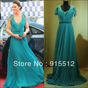 Princess Kate Same Design Jade Color V-neck  Chiffon Red Carpet  Celebrity Dresses