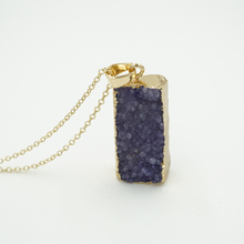 2015 New 18k Gold Unique Geometric Square Natural Stone Pendant Necklace for Women Amethyst Quartz Jewlery