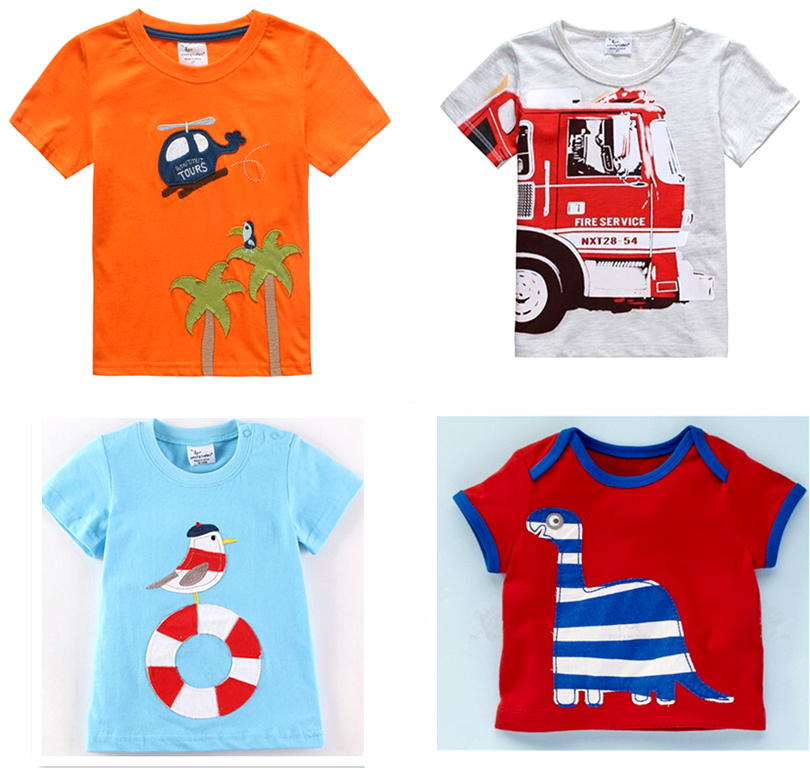 Retail 1 new Brand 2016 new Blouse boys t shirt kids clothing 100%cotton childrens clothes Summer short tee Cartoon dinosaur(China (Mainland))