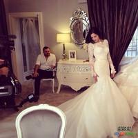 заказной кружевной аппликацией молнии с кнопками обратно длинные Русалка свадебное платье