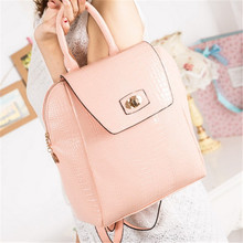 Hot Sale Wholesale 2014 Famous Designers Brand Zipper Hasp Women Crocodile Leather Backpack School Bag For Teenagers(China (Mainland))