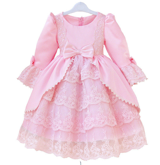 Dresses For Girls Long Sleeve Children Clothing Autumn Fashion Royal Style Lace Cotton Girl Princess Dress Sweet Kids Clothes<br><br>Aliexpress