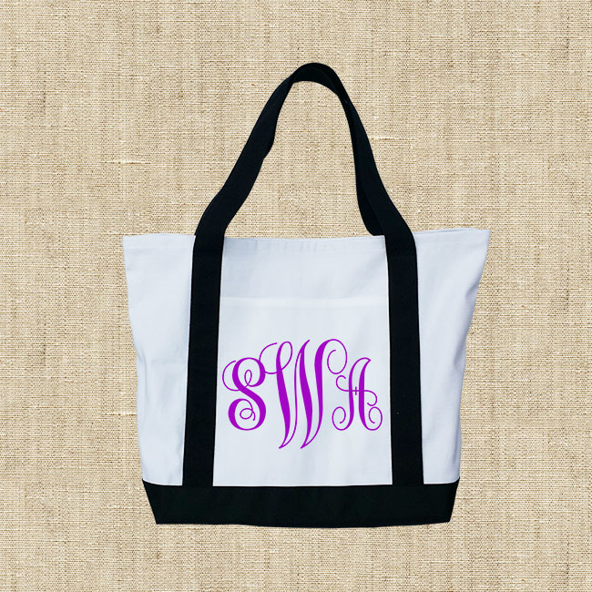Monogrammed Canvas Tote Bag, Canvas Tote Beach Bag, Large Personalized Canvas Boat Tote Beach Bag(China (Mainland))